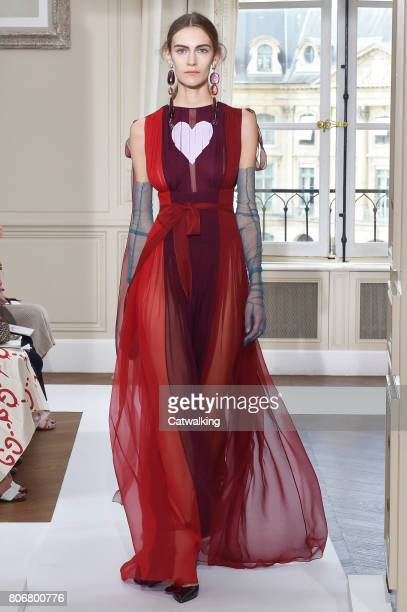 A model walks the runway at the Schiaparelli Autumn Winter 2017 fashion show during Paris Haute Couture Fashion Week on July 3 2017 in Paris France