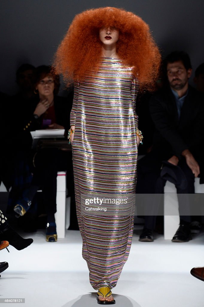 A model walks the runway at the Schiaparelli Spring Summer 2014 fashion show during Paris Haute Couture Fashion Week on January 20, 2014 in Paris, France.