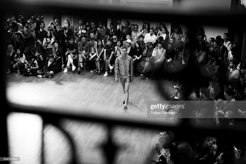A model walks the runway at the Sean Suen Menswear Spring/Summer 2017 show as part of Paris Fashion Week on June 26, 2016 in Paris, France.