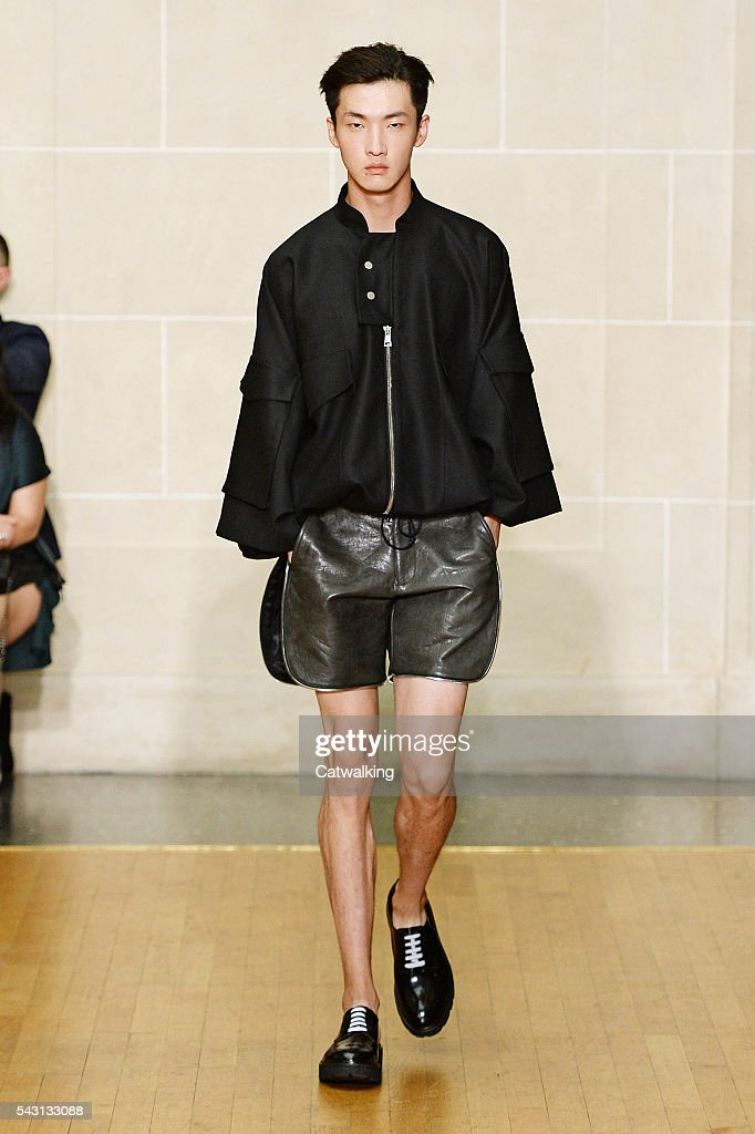 A model walks the runway at the Sean Suen Spring Summer 2017 fashion show during Paris Menswear Fashion Week on June 26, 2016 in Paris, France.