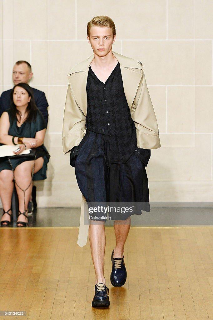 A model walks the runway at the Sean Suen Spring Summer 2017 fashion show during Paris Menswear Fashion Week on June 26, 2016 in Paris, France.