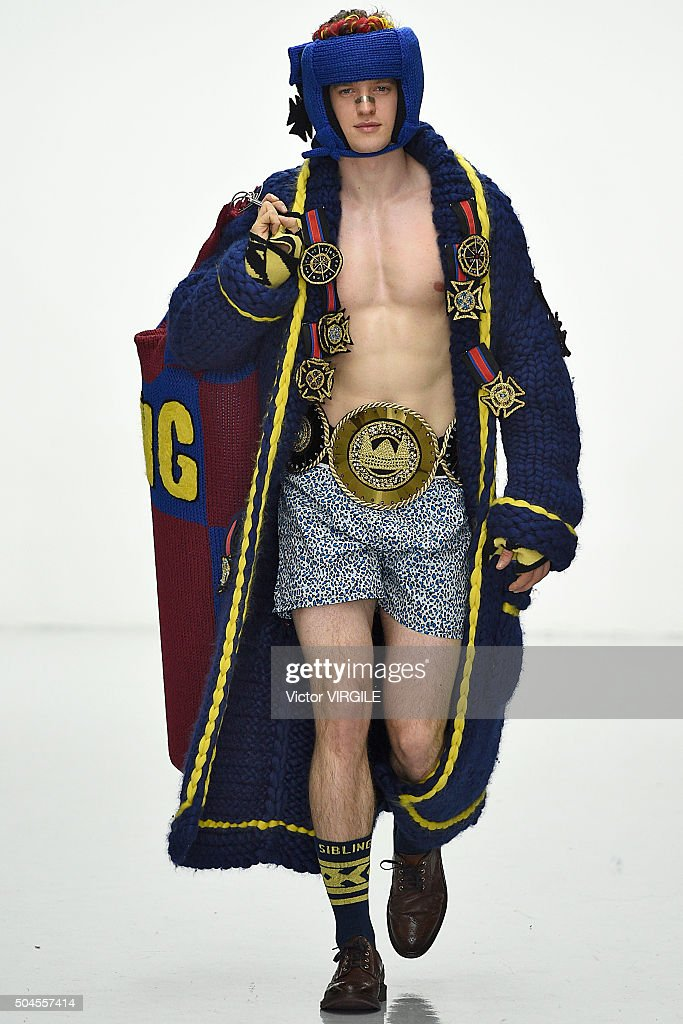 A model walks the runway at the SIBLING show during The London Collections Men AW16 at Victoria House on January 9 2016 in London England