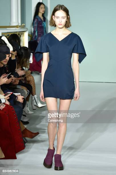 A model walks the runway at the Sies Marjan Autumn Winter 2017 fashion show during New York Fashion Week on February 12 2017 in New York United States