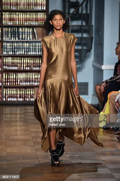 A model walks the runway at the Sies Marjan fashion show during New York Fashion Week September 2016 on September 11 2016 in New York City
