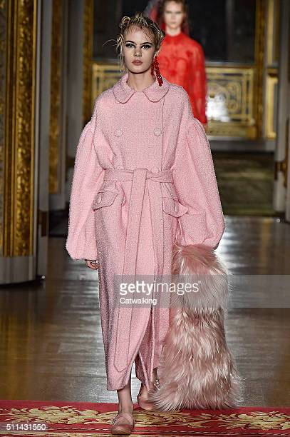 A model walks the runway at the Simone Rocha Autumn Winter 2016 fashion show during London Fashion Week on February 20 2016 in London United Kingdom
