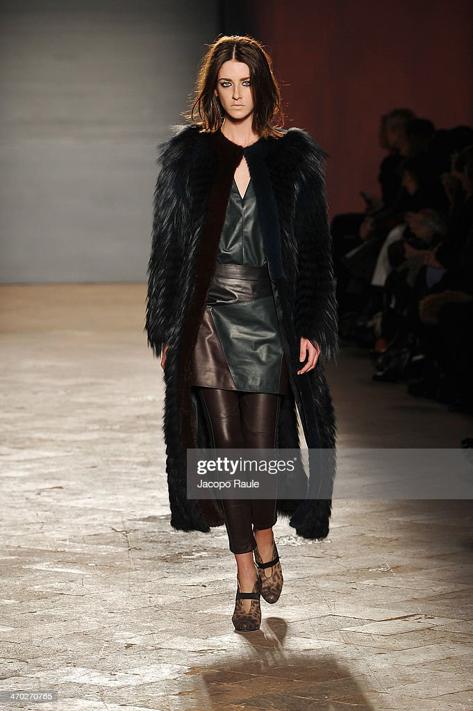 A model walks the runway at the Simonetta Ravizza show during Milan Fashion Week Womenswear Autumn/Winter 2014 on February 19, 2014 in Milan, Italy.