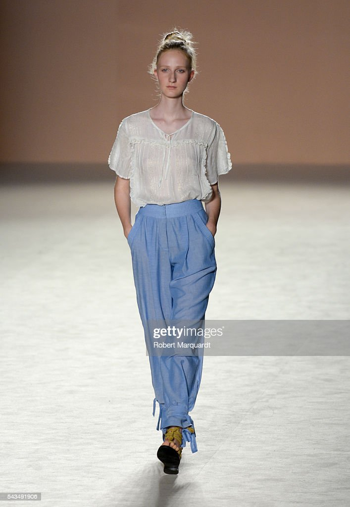 A model walks the runway at the Sita Murt show during the Barcelona 080 Fashion Week Spring/Summer 2017 at the INFEC on June 28, 2016 in Barcelona, Spain.