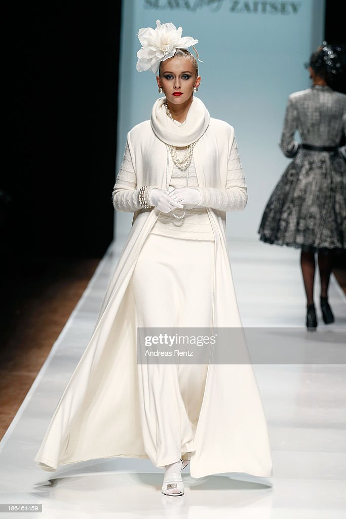 A model walks the runway at the SLAVA ZAITSEV Haute Couture show during Mercedes-Benz Fashion Week Russia S/S 2014 on October 31, 2013 in Moscow, Russia.