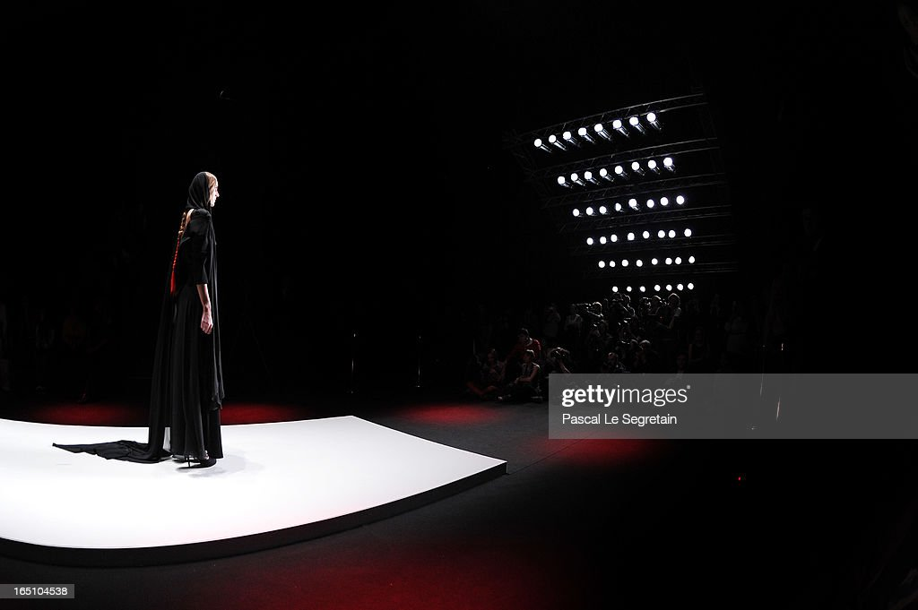 A model walks the runway at the Slava Zaitsev show during Mercedes-Benz Fashion Week Russia Fall/Winter 2013/2014 at Manege on March 30, 2013 in Moscow, Russia.