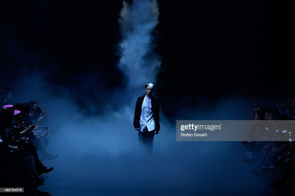 A model walks the runway at the Song For The Mute show during Mercedes-Benz Fashion Week Australia 2014 at Carriageworks on April 10, 2014 in Sydney, Australia.