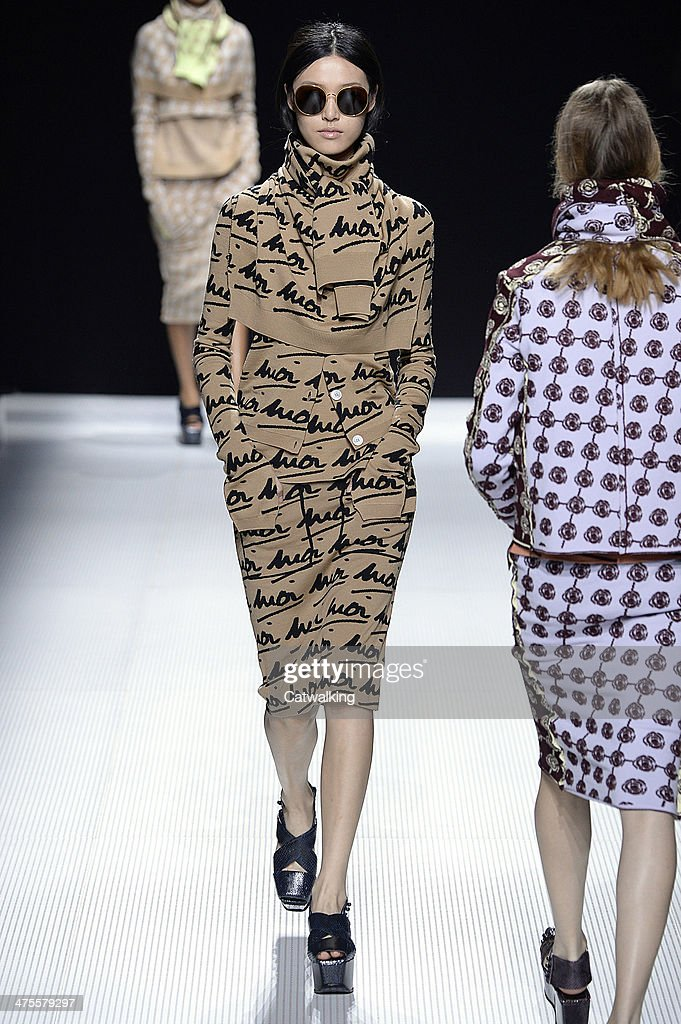 A model walks the runway at the Sonia Rykiel Autumn Winter 2014 fashion show during Paris Fashion Week on February 28, 2014 in Paris, France.