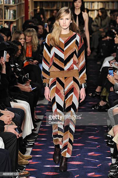 A model walks the runway at the Sonia Rykiel Autumn Winter 2015 fashion show during Paris Fashion Week on March 9 2015 in Paris France