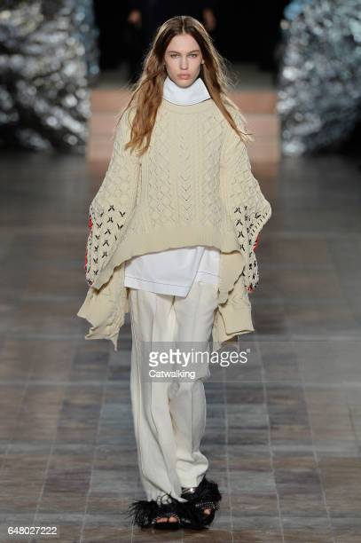 A model walks the runway at the Sonia Rykiel Autumn Winter 2017 fashion show during Paris Fashion Week on March 4 2017 in Paris France