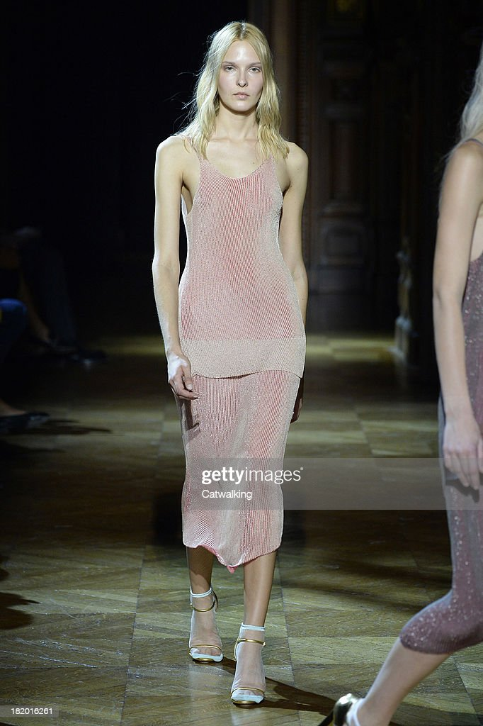 A model walks the runway at the Sonia Rykiel Spring Summer 2014 fashion show during Paris Fashion Week on September 27, 2013 in Paris, France.