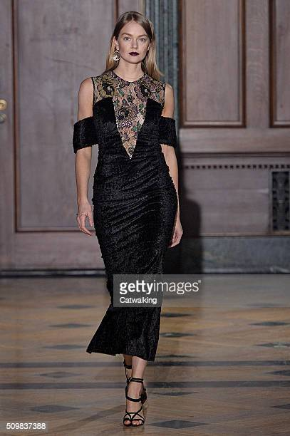 A model walks the runway at the Sophie Theallet Autumn Winter 2016 fashion show during New York Fashion Week on February 12 2016 in New York United...