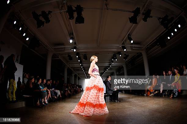 A model walks the runway at the Sophie Theallet spring 2013 fashion show during MercedesBenz Fashion Week at Milk Studios on September 11 2012 in New...