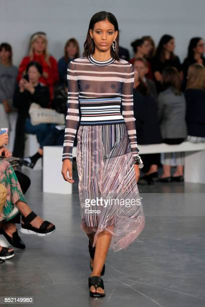 A model walks the runway at the Sportmax show during Milan Fashion Week Spring/Summer 2018 on September 22 2017 in Milan Italy