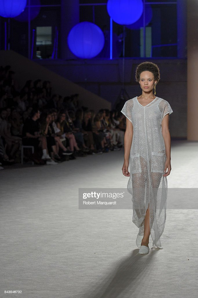 A model walks the runway at the Ssic and Paul show during the Barcelona 080 Fashion Week Spring/Summer 2017 at the INFEC on June 29, 2016 in Barcelona, Spain.