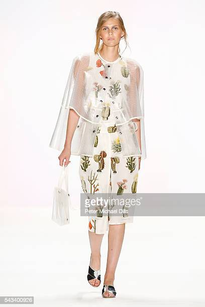 A model walks the runway at the Steinrohner show during the MercedesBenz Fashion Week Berlin Spring/Summer 2017 at Erika Hess Eisstadion on June 28...