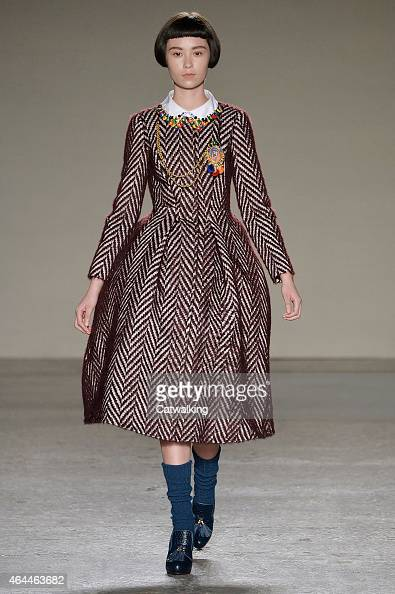 A model walks the runway at the Stella Jean Autumn Winter 2015 fashion show during Milan Fashion Week on February 25 2015 in Milan Italy