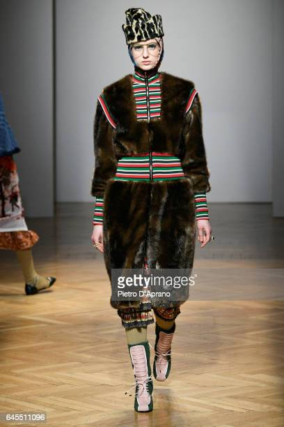 A model walks the runway at the Stella Jean show during Milan Fashion Week Fall/Winter 2017/18 on February 26 2017 in Milan Italy