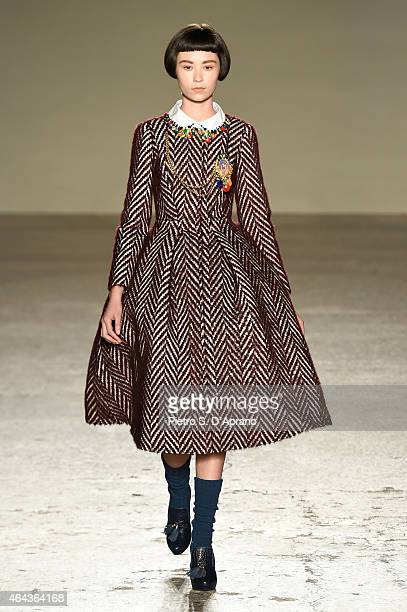 A model walks the runway at the Stella Jean show during the Milan Fashion Week Autumn/Winter 2015 on February 25 2015 in Milan Italy