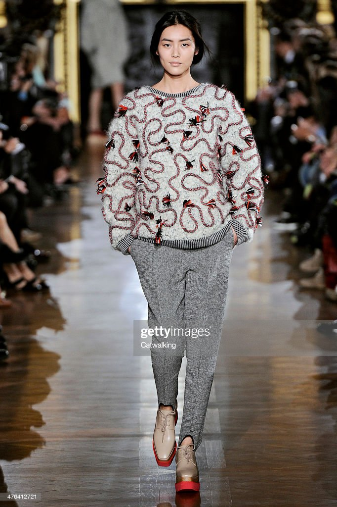 A model walks the runway at the Stella McCartney Autumn Winter 2014 fashion show during Paris Fashion Week on March 3, 2014 in Paris, France.