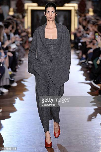 A model walks the runway at the Stella McCartney Autumn Winter 2015 fashion show during Paris Fashion Week on March 9 2015 in Paris France