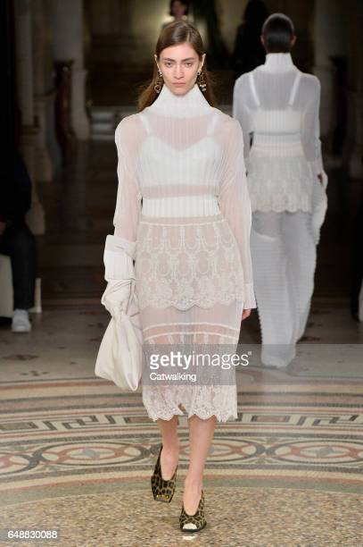 A model walks the runway at the Stella McCartney Autumn Winter 2017 fashion show during Paris Fashion Week on March 6 2017 in Paris France