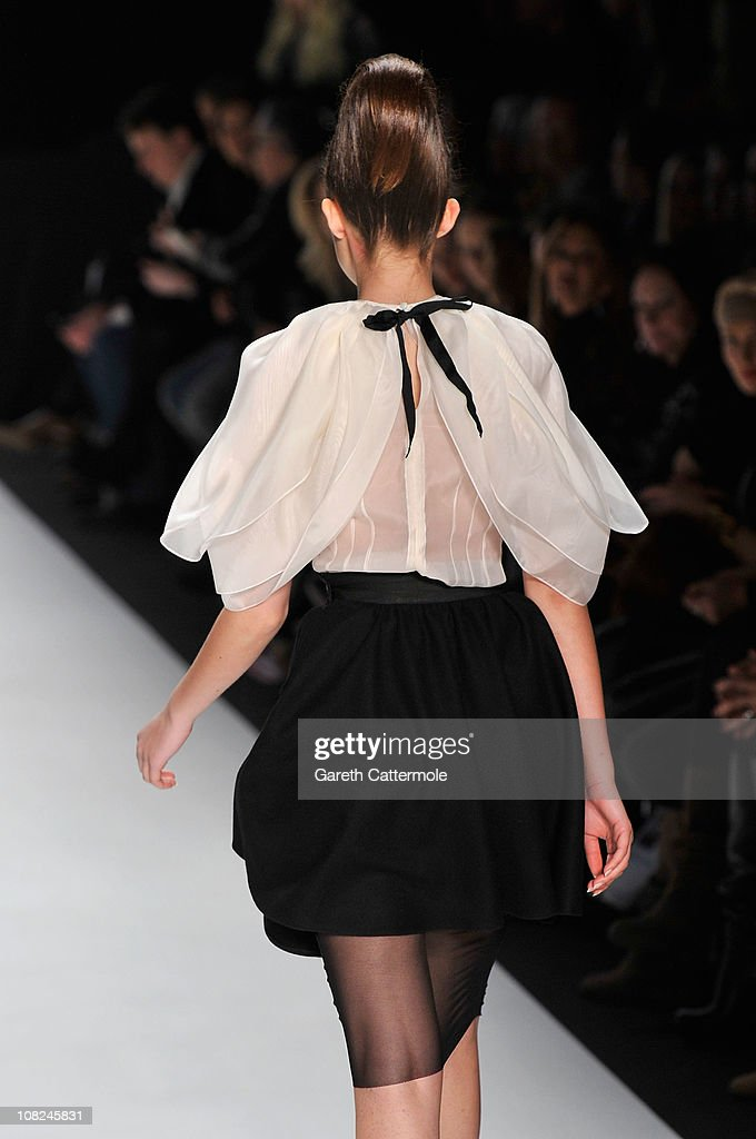 A model walks the runway at the Stephan Pelger Show during the Mercedes Benz Fashion Week Autumn/Winter 2011 at Bebelplatz on January 22, 2011 in Berlin, Germany.