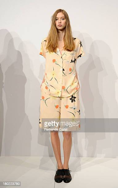 A model walks the runway at the Steven Alan fashion presentation during MercedesBenz Fashion Week Spring 2014 on September 10 2013 in New York City