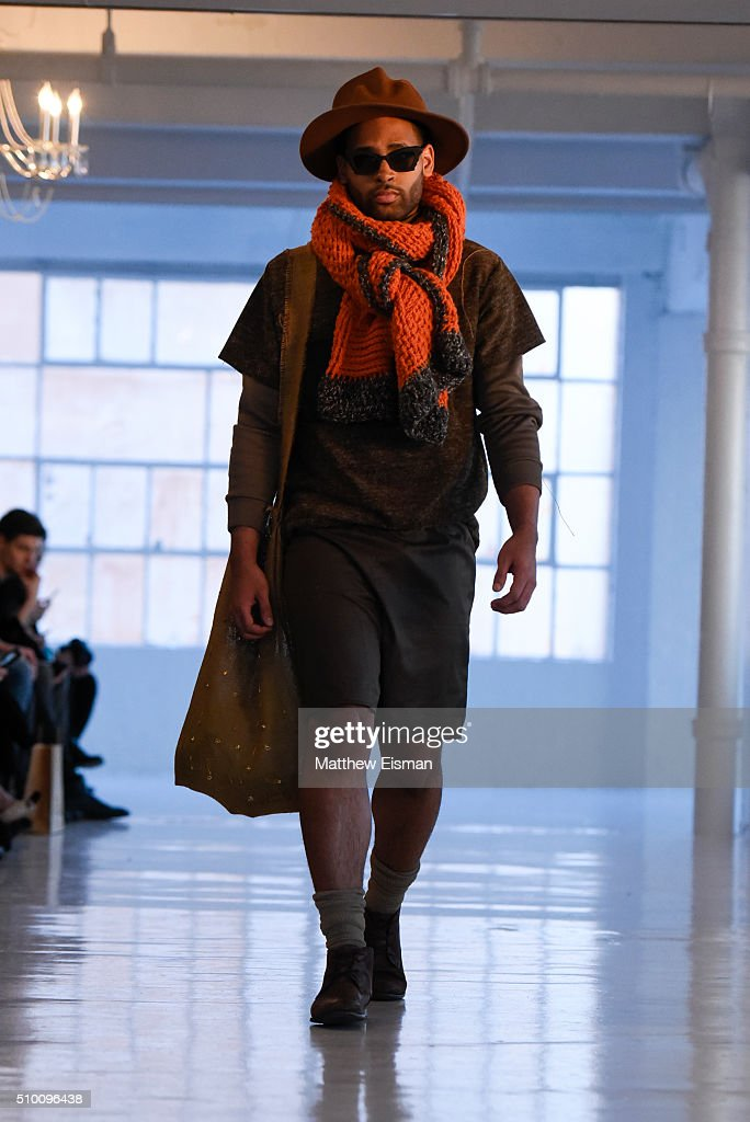 A model walks the runway at the Stevie Boi Fall 2016 fashion show during New York Fashion Week at Studio 450 on February 13, 2016 in New York City.