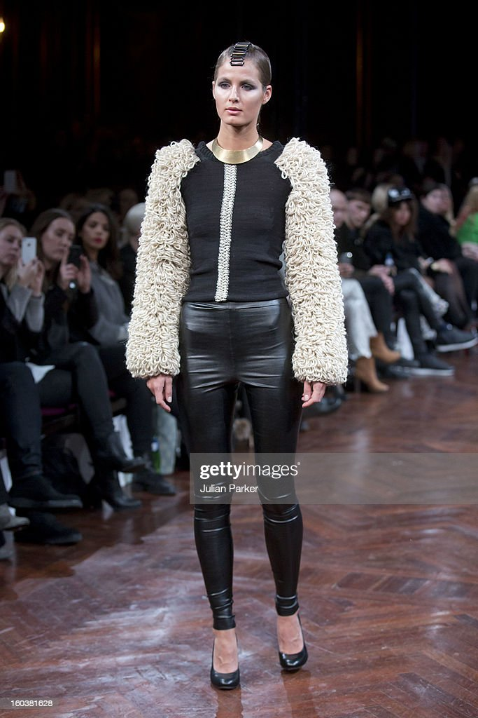 A model walks the runway at the Stine Ladefoged show during Day 1 of Copenhagen Fashion Week Autumn/Winter 2013 on January 30, 2013 in Copenhagen, Denmark.
