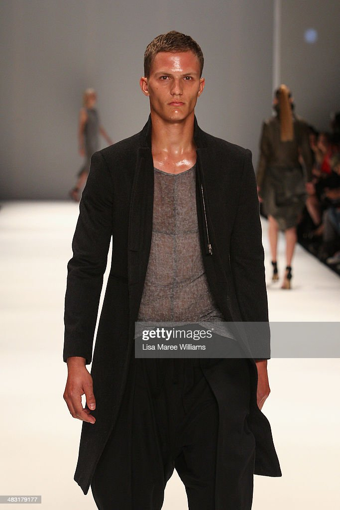 A model walks the runway at the Strateas.Carlucci show during Mercedes-Benz Fashion Week Australia 2014 at Carriageworks on April 7, 2014 in Sydney, Australia.