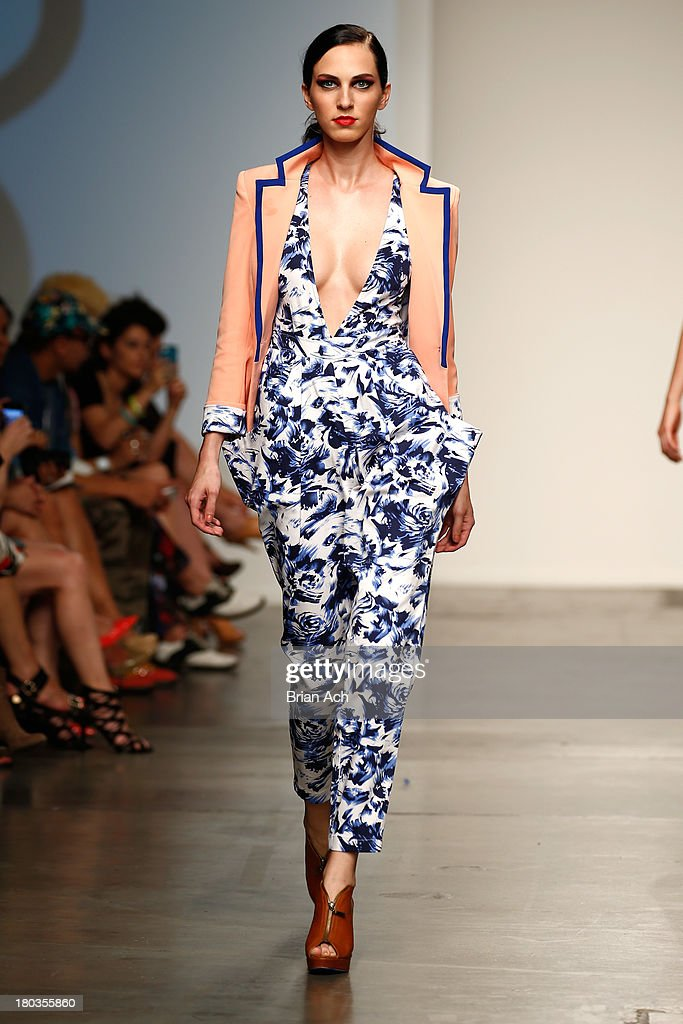 A model walks the runway at the Studio 6th Sense show during Nolcha Fashion Week New York Spring/Summer 2014 presented by RUSK at Pier 59 Studio on September 11, 2013 in New York City.