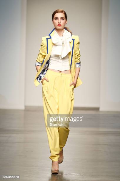 A model walks the runway at the Studio 6th Sense show during Nolcha Fashion Week New York Spring/Summer 2014 presented by RUSK at Pier 59 Studio on...