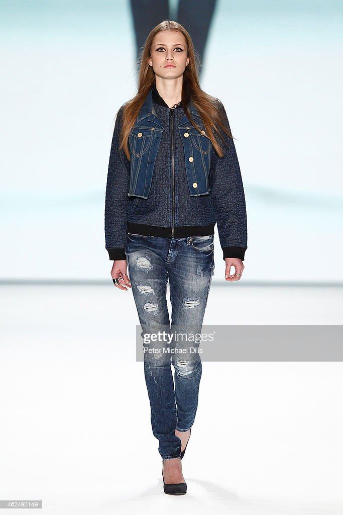 A model walks the runway at the Stylight Fashion Blogger Awards at Brandenburg Gate on January 13, 2014 in Berlin, Germany.