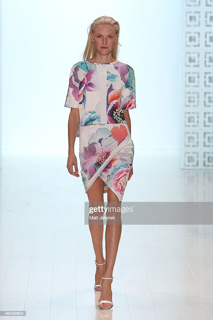 A model walks the runway at the Suboo show at Mercedes-Benz Fashion Week Australia 2014 at on April 9, 2014 in Sydney, Australia.