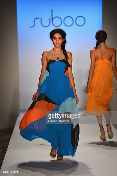 A model walks the runway at the Suboo show during MercedesBenz Fashion Week Swim 2013 at The Raleigh on July 22 2012 in Miami Beach Florida