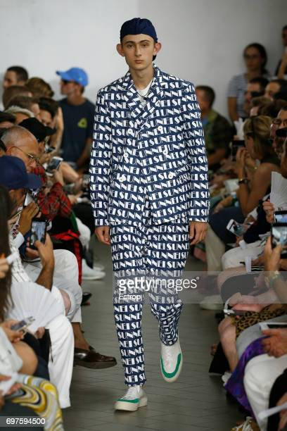 A model walks the runway at the Sunnei show during Milan Men's Fashion Week Spring/Summer 2018 on June 18 2017 in Milan Italy