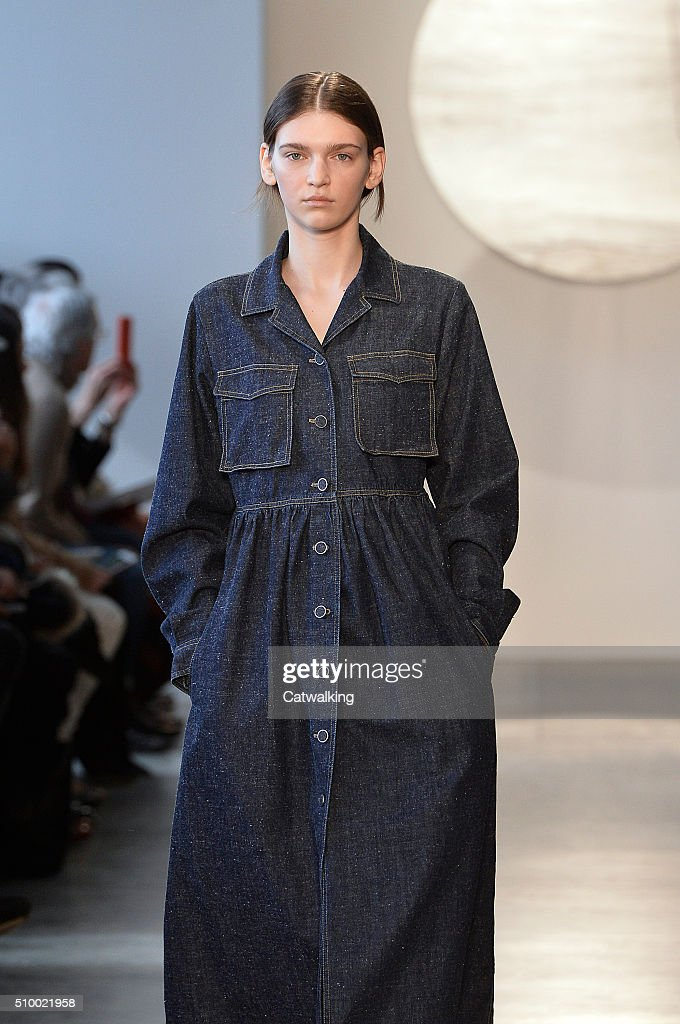 A model walks the runway at the Suno Autumn Winter 2016 fashion show during New York Fashion Week on February 13, 2016 in New York, United States.
