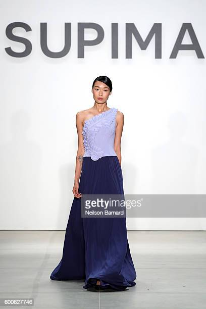 A model walks the runway at the Supima Design Competition 2016 during New York Fashion Week September 2016 at The Gallery Skylight at Clarkson Sq on...