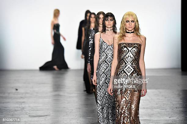 A model walks the runway at the Tadashi Shoji Fall/Winter 2016 fashion show during New York Fashion Week on February 12 2016 in New York City
