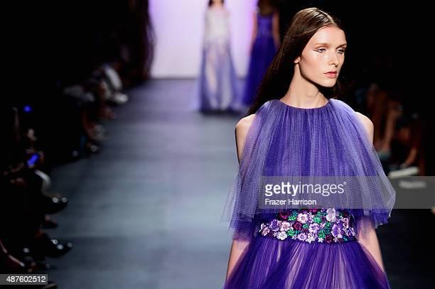 A model walks the runway at the Tadashi Shoji fashion show during Spring 2016 New York Fashion Week The Shows at The Dock Skylight at Moynihan...