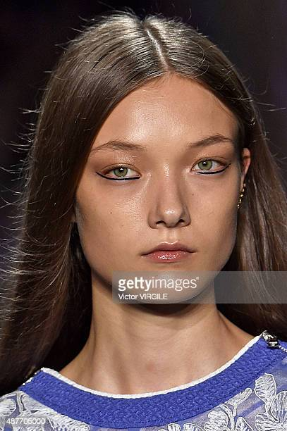 A model walks the runway at the Tadashi Shoji fashion show during the Spring Summer 2016 New York Fashion Week on September 10 2015 in New York City