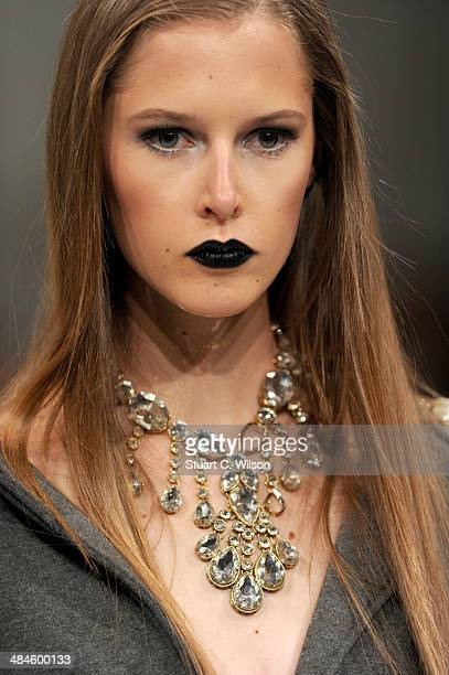 A model walks the runway at the Tahir Sultan show during Fashion Forward at Madinat Jumeirah on April 13 2014 in Dubai United Arab Emirates
