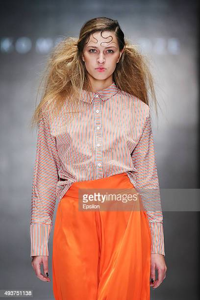 A model walks the runway at the Tako Mekvabidze show during day 2 of Mercedes Benz Fashion Week Russia SS16 at Manege on October 22 2015 in Moscow...