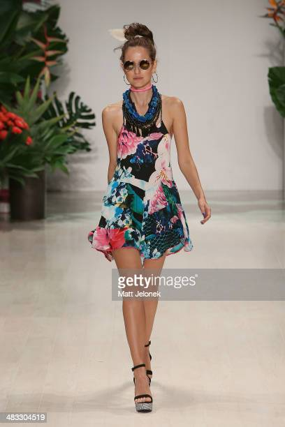 A model walks the runway at the Talulah show during MercedesBenz Fashion Week Australia 2014 at Carriageworks on April 8 2014 in Sydney Australia
