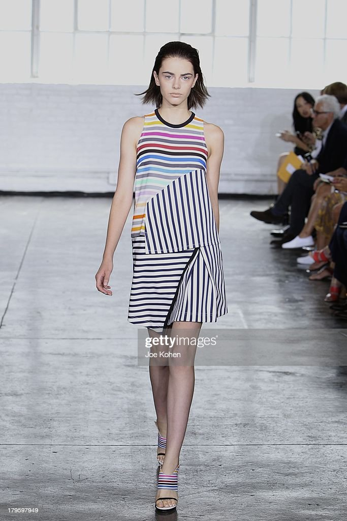 A model walks the runway at the Tanya Taylor fashion show during Mercedes-Benz Fashion Week Spring 2014 at Industria Studios on September 5, 2013 in New York City.