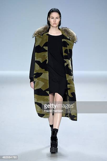 A model walks the runway at the Taoray Wang fashion show during MercedesBenz Fashion Week Fall 2015 at The Salon at Lincoln Center on February 16...
